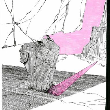 Sin título (2014) Tinta china y acrílico sobre papel 30 x 25 cm