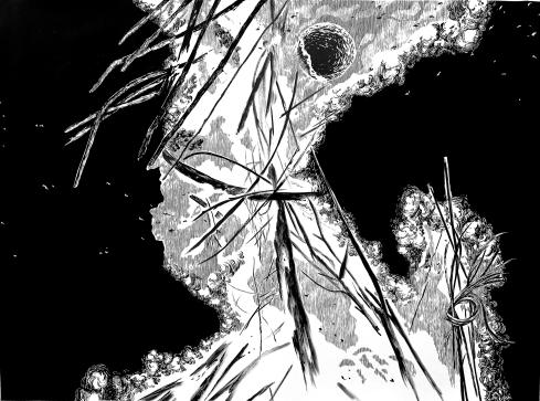Le pareció oír una voz (2017) - Tinta china y acrílico sobre papel - 140 x 190 cm