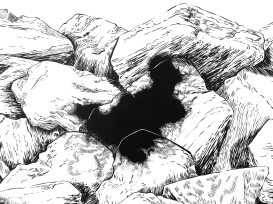 Detalle de Eczema (2017) - Tinta china y acrílico sobre papel- 140 x 190 cm