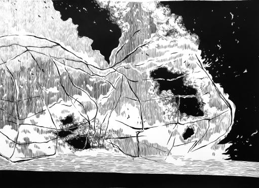Reunión (2016) - Tinta china y acrílico sobre papel - 86 x 120 cm