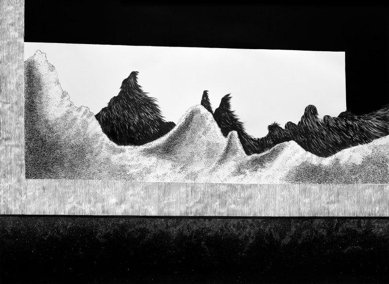 Espera (2016) - Tinta china y acrílico - 140 x 190 cm