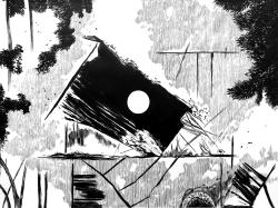 La caza (2016) - Tinta china y acrílico sobre papel - 86 x 120 cm